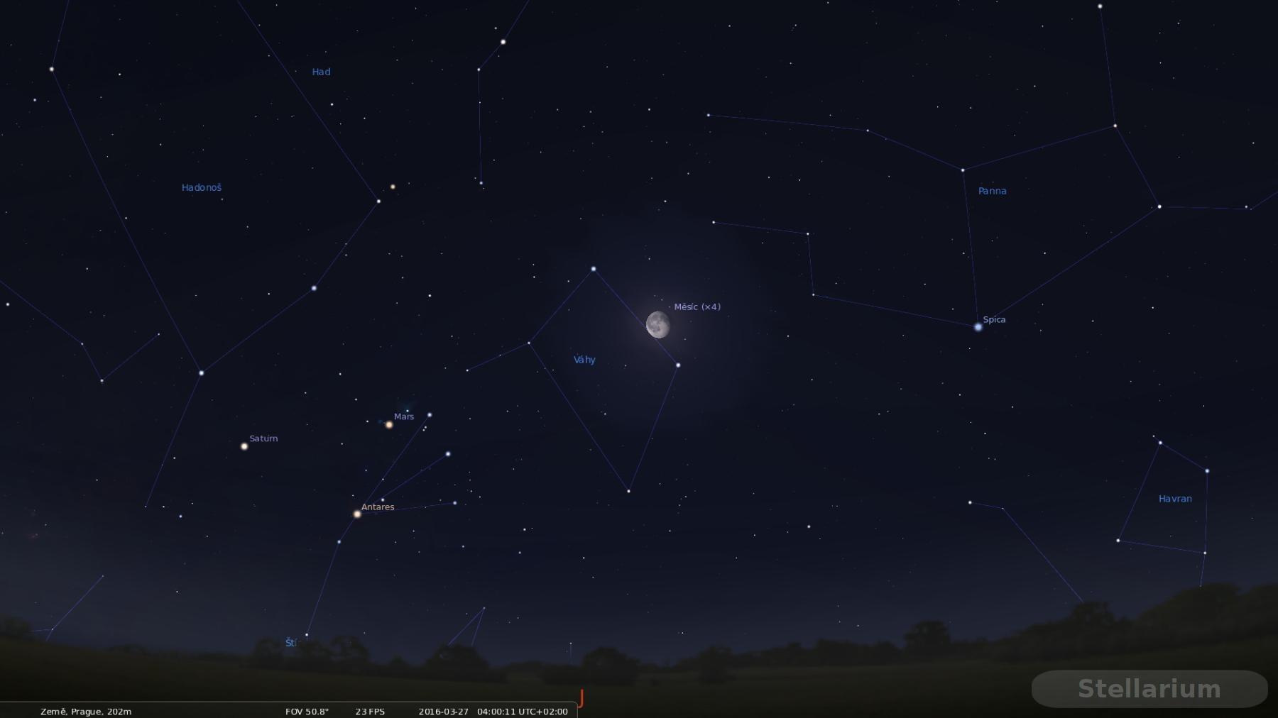 Saturn Mars A Antares Na Nočn 237 Obloze Exospace Cz