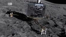 Grafické virtuálne znázornenie sondy Philae na povrchu kométy 67/P (dw.de)