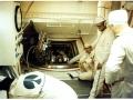 Buzz Aldrin při testu odpočítávání Apolla 11 leží na prostředním křesle