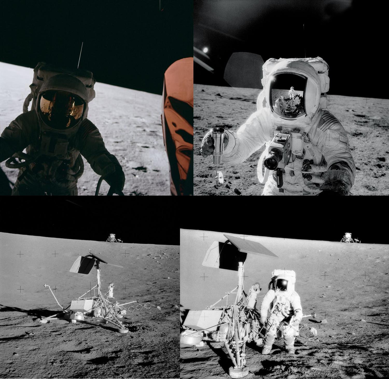 """19. listopadu 1969 dosedá lunární modul Apolla 12 Intrepid do Oceánu bouří, 180 m daleko od sondy Surveyor 3, která zde přistála 20. dubna 1967. Bylo to první precizní přistání na Měsíci. Astronauti Pete Conrad a Alan Bean provedli 2 výstupy v celkové délce 7h 45min. Instalovali zařízení ALSEP, odmontovali ze sondy Surveyor některé části k další analýze vlivu kosmických podmínek. Krom toho samozřejmě odebrali vzorky hornin a fotografovali. Beanovi se podařilo """"zmrzačit"""" kameru, když se s ní zadíval na Slunce, takže tentokrát byl pobyt na Měsíci bez televize"""