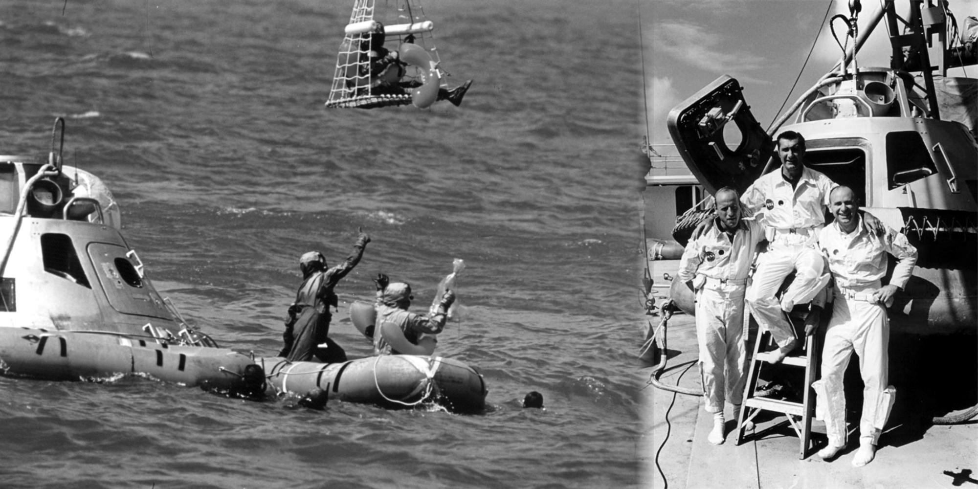 20. září 1969 nacvičovala posádka Apolla 12 záchranné operace na moři po přistání