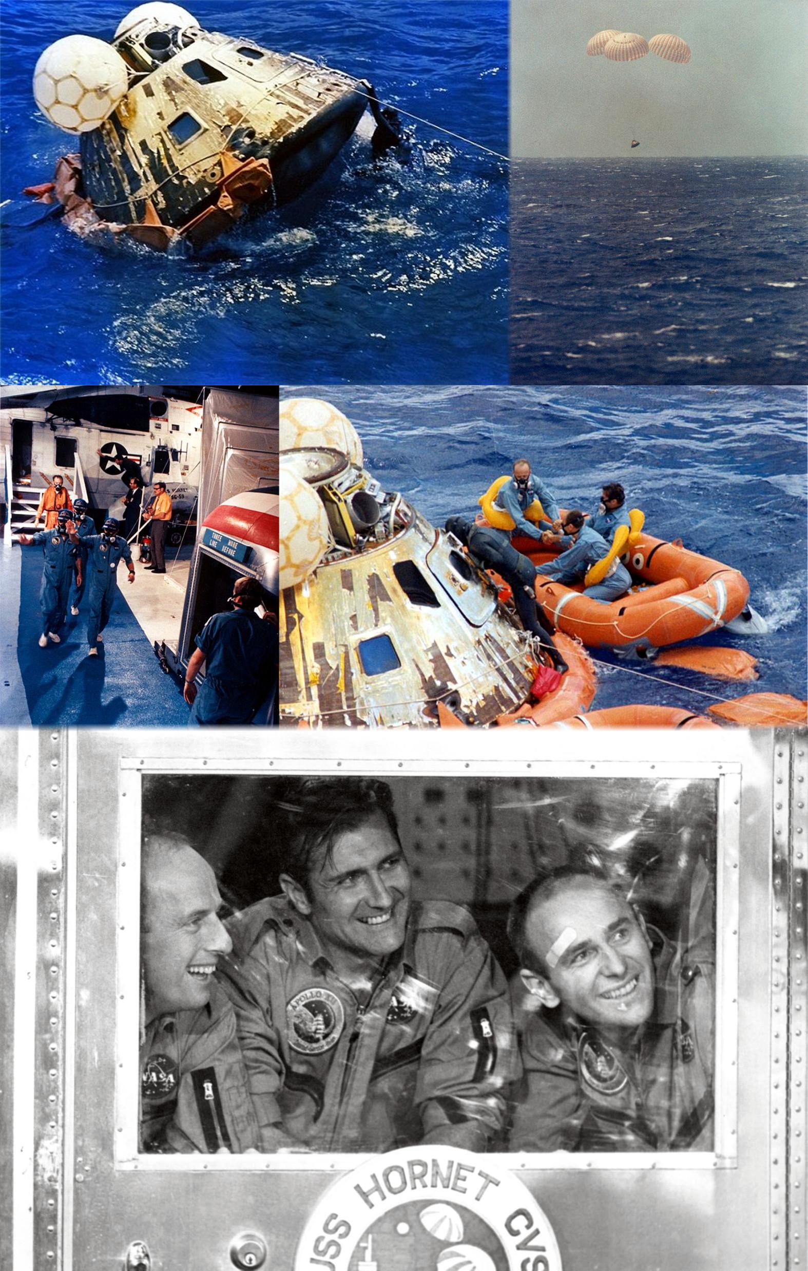24. listopadu 1969 dosedla do Tichého oceánu velitelská sekce Apolla 12; následně byla vyzvednuta na loď Hornet. V okamžiku přistání byl Al Bean v bezvědomí, protože byl zasažen padající 16mm kamerou, která se uvolnila z přihrádky a dopadla nad jeho pravé oko. Po vyzvednutí byla posádka přemístěna do karantény. Posádka Apolla 12 přivezla na Zemi 34 kg měsíčních hornin. Mise stála 2,4 miliard dolarů (při přepočtu na rok 2015)