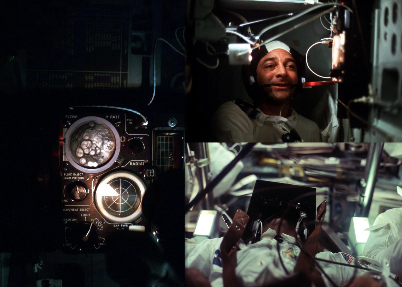 Astronauti byli při cestě k Měsíci atakováni paprsky kosmického záření, které mohli vidět především se zavřenýma očima. Astronauti Apolla 16 a 17 ve spolupráci s houstoonskou univerzitou připravili experiment, který měl tento jev, zvaný Light Flash Phenomenon, zkoumat; experiment spočíval ve zjišťování množství dopadajícího záření emulzí citlivou na toto záření pomocí zařízení, které si astronauti nasazovali na obličej. Astronauti rovněž sestrojili experiment HFCE (Heat Flow and Convection Experiment), kterým zkoumali, jak se v nulové gravitaci chovají plyny a kapaliny po zahřátí