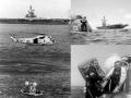 Velitelská sekce Apolla 17 vstoupila do atmosféry rychlostí 39370 km/hod a bezpečně přistála 560 km jihovýchodně od Samoy v Tichém oceánu, nedaleko čekající záchranné lodě Ticonderoga.Posádka strávila v kabině ještě téměř hodinu, a poté byla helikoptérou dopravena na Ticonderogu. Na obrázku vpravo dole si záchrannář podává ruku s Genem Cernanem. Vpravo nahoře je již velitelská sekce osamocená, astronauti byli přepraveni na čekající loď. Apollo 17 byla závěrečná a nejdražší měsíční výprava, stála 450 milionů dolarů (2,6 miliardy v roce 2015). Astronauti strávili na Měsíci 3 dny a přivezli 110 kg měsíčních hornin