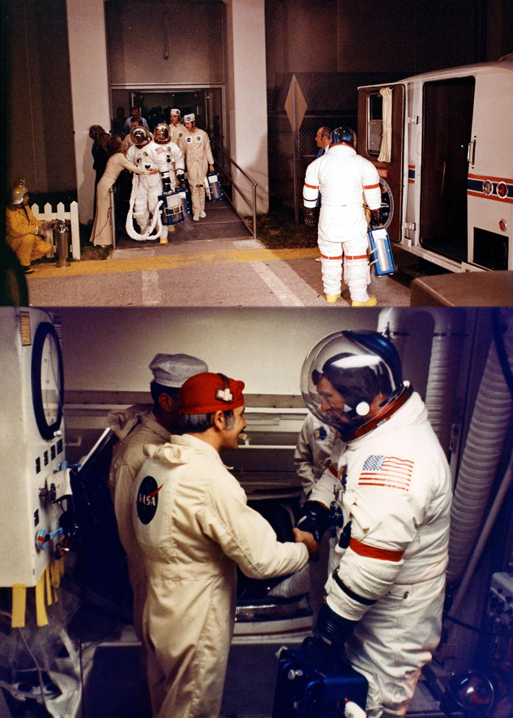Posádka Apolla 17 ve složení Eugene Cernan (velitel), Ron Evans (pilot velitelského modulu) a Harrison Schmitt (pilot lunárního modulu) jde 6. 12. 1972 na start; tomu přihlíželo zhruba půl milionu lidí. Byl to první noční start Apolla a poslední let pilotovaného Saturnu 5; start byl v T-30 s odložen (nakonec o 2 a půl hodiny) v důsledku chyby na odpočítávacím sekvenceru