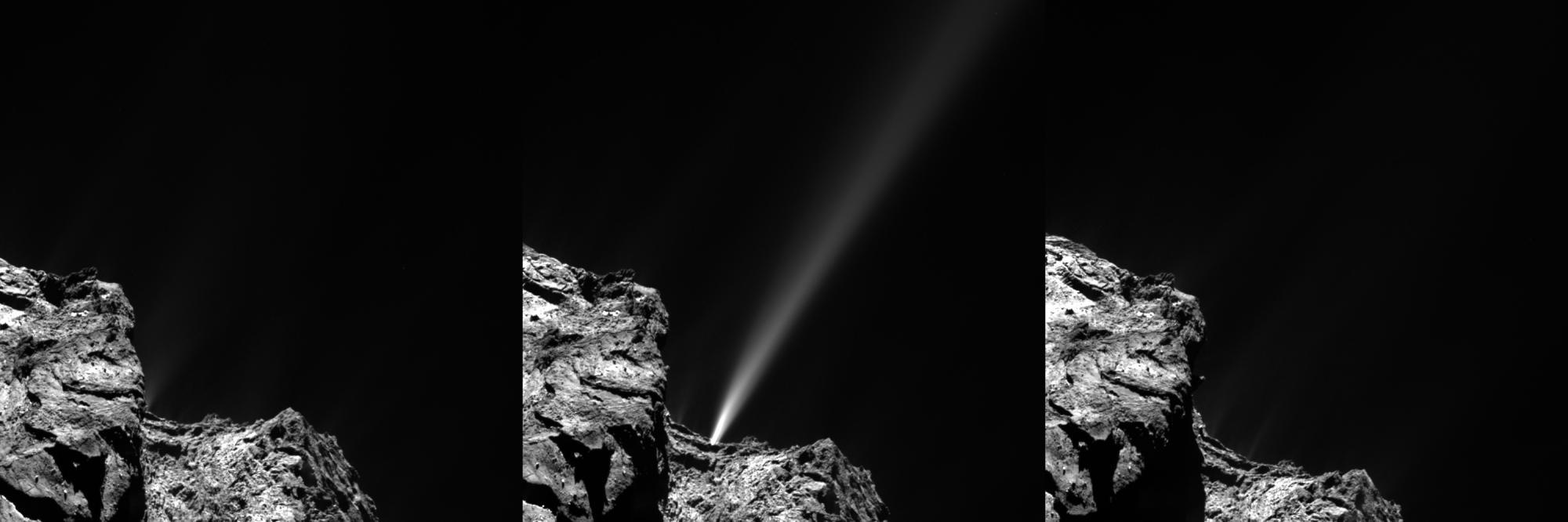 Náhlý outburst komety 67P na snímku sondy Rosetta ze dne 29. července 2015