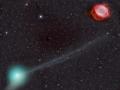 Úchvatný snímek aktuálně nejjasnější komety na obloze, C/2013 X1 (PanSTARRS), společně s mlhovinou NGC 7293, známou také pod označením Helix, pořídil 3. června ráno Fritz Helmut Hemmerich (Marek Biely)