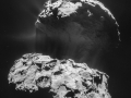 Podrobný záber spojenia dvoch lalokov kométy 67P/ Churyumov-Gerasimenko sondou Rosetta...snímka vznikla pred rokom (Eduard Boldižár)