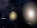 Vyčkávajú na nás, tam vonku, obrovské hviezdne mesta... Galáxia IC1101 má priemer 4-6 miliónov svetelných rokov (naša ma 100 000) a hmotnosť má 20 biliónov hmotnosti Sĺnk (s temnou hmotou váži 100 biliónov hmotnosti Sĺnk)...ak zarátame vysoký počet červených trpaslíkov (<0.3 hmotnosti Slnka) kľudne môže obsahovať 100 biliónov hviezd...viete si to predstaviť? to je ako porovnávať Bratislavu s Tokiom...(Eduard Boldižár)