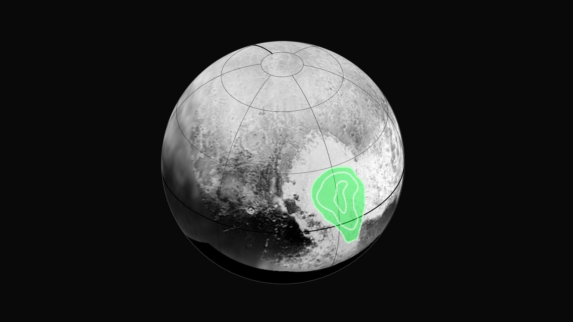 V západní části Tombaugh Regio lze vidět známý útvar v podobě srdce, který podle zjisštění sondy New Horizons sestává ze zmrzlého oxidu uhelnatého, jehož koncentrace roste směrem ke středu útvaru