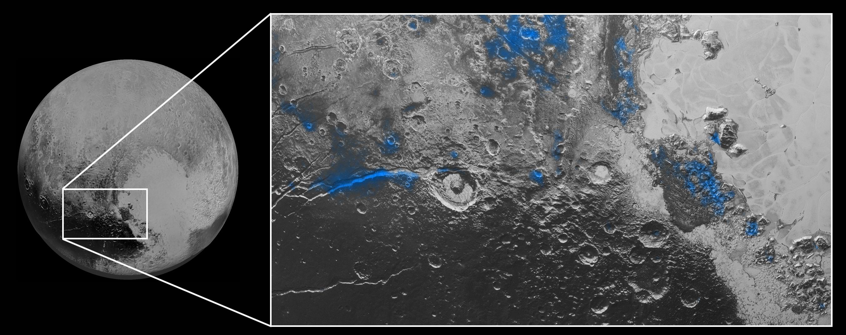 Tento kompozitní záběr ze zařízení Ralph kombinuje snímky z viditelné oblasti z kamery MVIC (Multispectra Visible Imaging Camera) a z infračerveného spektrometru LEISA (Linear Etalon Imaging Spectral Array), který mapuje rozložení dusíku, metanu, oxidu uhelnatého, vody a organických látek. Modrou barvou jsou zvýrazněny oblasti se zbytky vodního ledu. Jeho nejvýznamnější podíl je podél brázdy Virgil Fossa západně od kráteru Elliot a v oblasti Viking Terra v horní části snímku. Větší část se nachází rovněž v Baré Montes v pravé části snímku, kde jsou i četné další menší výskyty, mnohdy související s impaktními krátery a údolími mezi horami. Obrázek zobrazuje oblast asi 450 km širokou