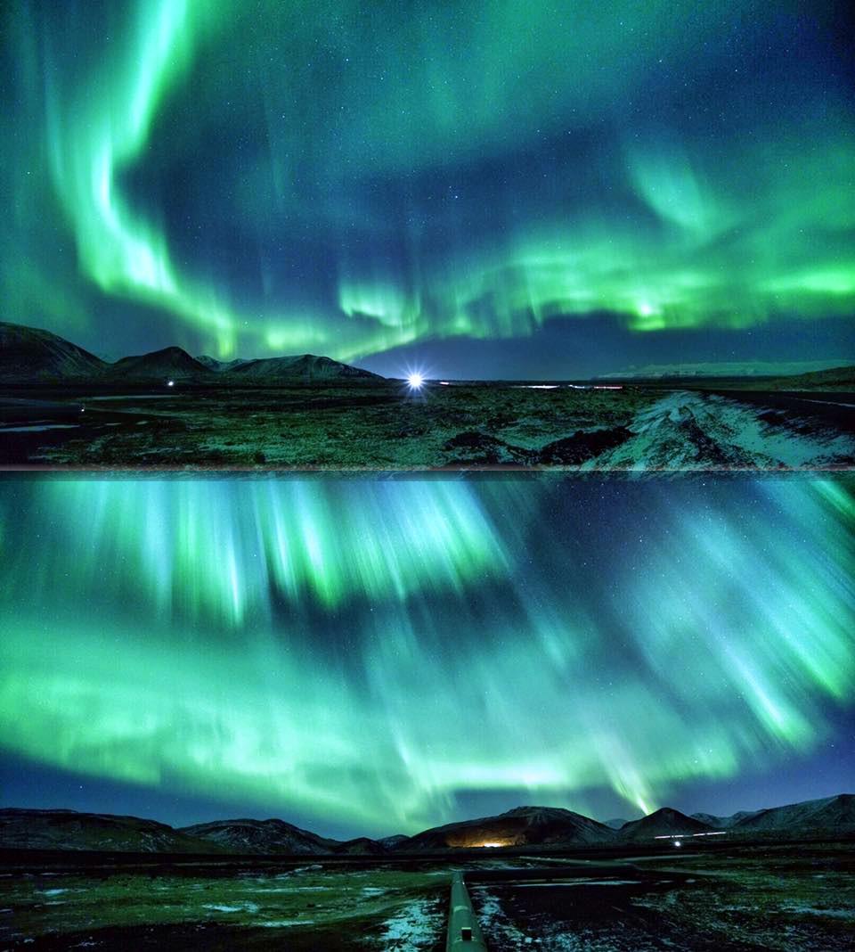 Obloha 19. 11. 2015 nad Islandem oplývala polární září