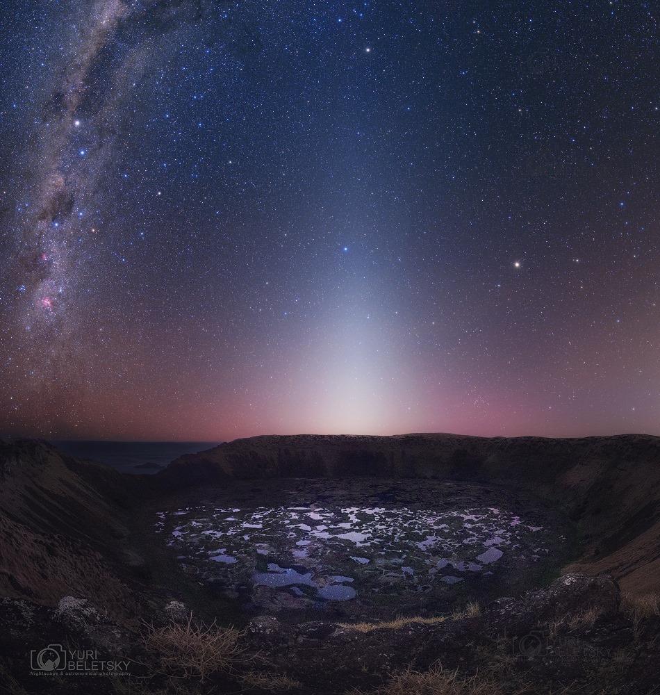 Odrazené lúče asteroidmi z Hlavného pásu asteroidov pozorujeme ako zodiakálne resp. zvieratníkové svetlo...(Eduard Boldižár)