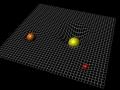 Názorná ukážka sprehýbania hmotných objektov v (časo)priestore...samozrejme, štvrtý rozmer čas není zobrazený...(Eduard Boldižár)
