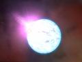 Umelecká podoba neutronovej hviezdy...vzniká, ak jadro umierajúcej hviezdy ma hmotnosť 1.44 - 3 (podľa nových teórii od 2.58 - 5) hmotnosti Slnka...(Eduard Boldižár)