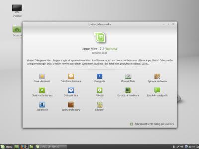 První spuštění Linux Mint