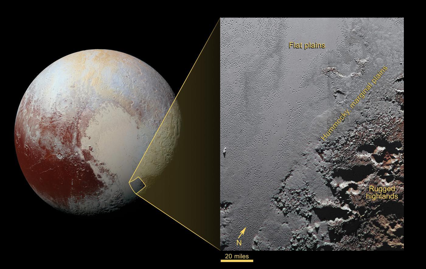 Zjizvená Krun Macula na pobřeží Sputnik Planum