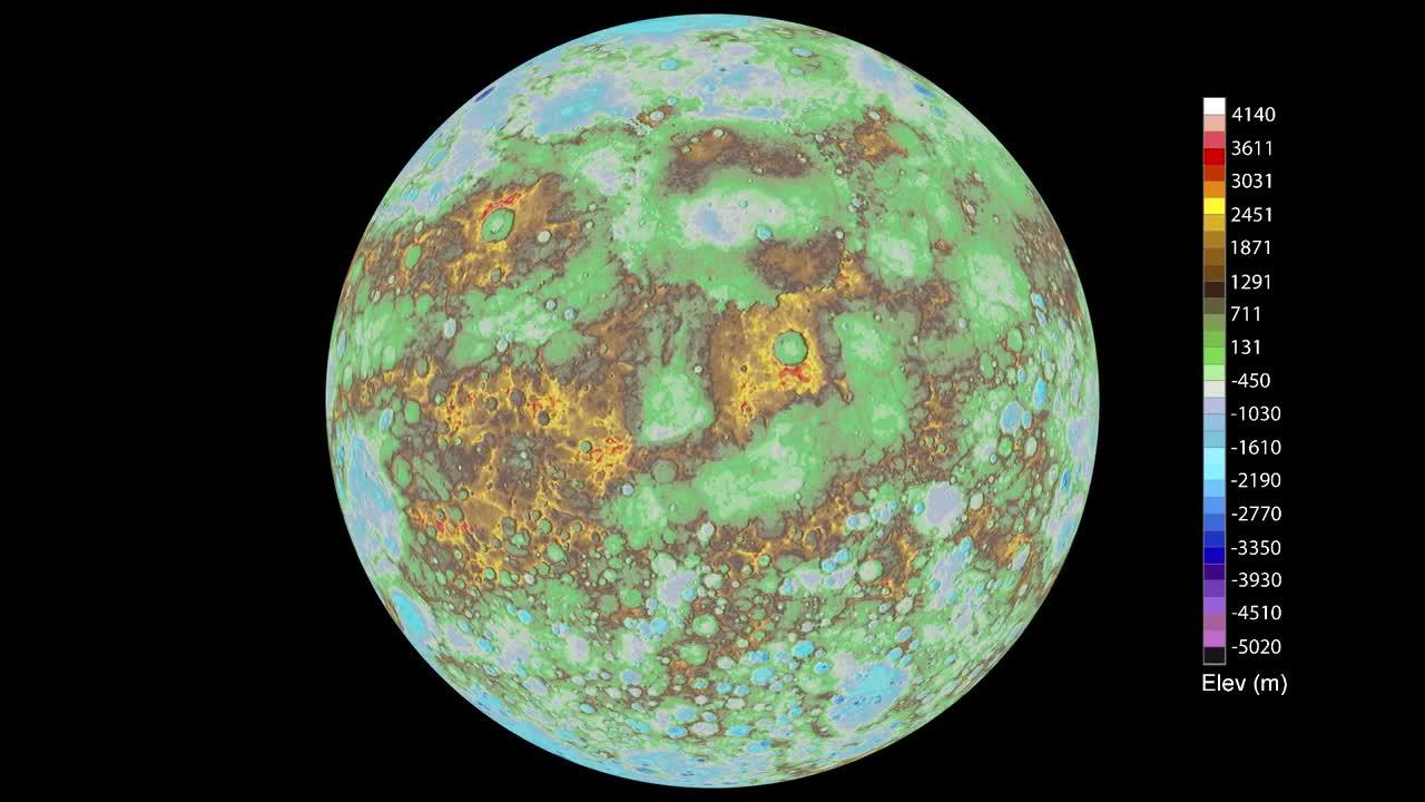 Globálna mapa Merkúru od sondy MESSENGER