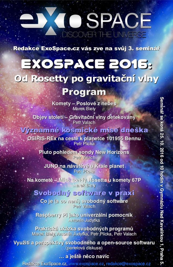 Seminář ExoSpace.cz 2016 a další aktivity