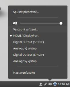 Výběr zvukových výstupů v Linux Mintu